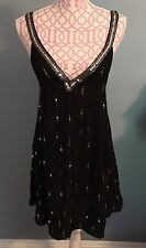 Free People Rising Sun Sequined Slip Dress In Black Size XS NWOT