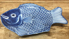 Serving Platter Plate Fish Blue White Asian Dish Japanese Signed Figural Help?