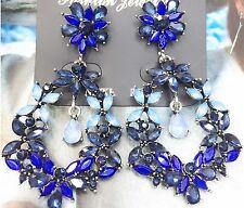 2018 Fashion Blue Glass Crystal Rhinestone Ear Drop Dangle Stud Earrings 848