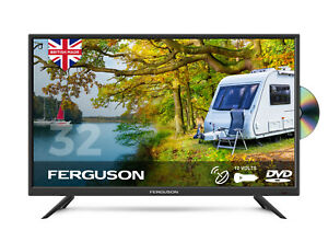 FERGUSON 32 INCH 12v volt LED TV FREEVIEW DVD & SAT TUNER 2 HDMI USB CARAVAN TV