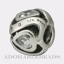 Authentic Chamilia Silver Mother's Heart Clear CZ Bead JB-7B *RETIRED*