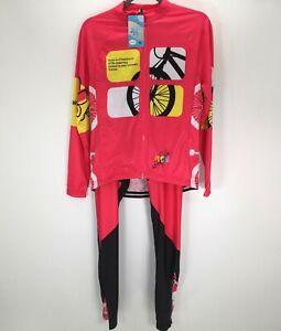Cool Bike Pink/Black Long Sleeves Jersey Pants Bike Set Medium
