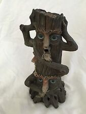 "Green Brown 11.5"" Humor See Speak Ear no Evil Tree Candle Holder Figurine"