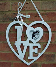 Heart Love Photo Frame Wall White Wood Hanging 33 Cm Shabby Chic Romantic