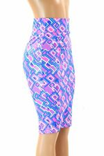"MEDIUM 27"" Long UV Glow Neon Half Pipe Print Bodycon Wiggle Skirt Clubwear NWT"