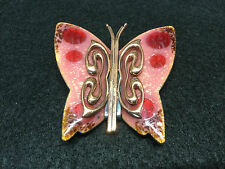 MATISSE Vintage Red and Pink Enamel and Copper Lustre Butterfly Pin Signed