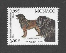 Dog Art Head Body Portrait Postage Stamp Newfoundland Leonberger Monaco 2001 Mnh