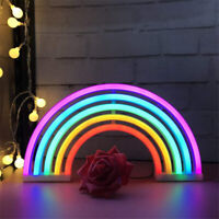 LED Rainbow Neon Sign Night Light Wall Lamp For Kids Room Decoration