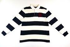 RUGBY RALPH LAUREN STRIPED GOTHIC R BLACK WHITE Size L MENS POLO SHIRT Stadium