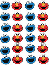 Elmo and Cookie Monster, Cupcake / Fairy Cake Wafer Paper Toppers x 24