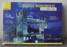 Puzzle 2x 1000 Teile Weltbild, Tower Bridge London + Skyline Midtown New York RA