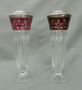 2x Glass Posy Vases with Silver Plate Tops (Height 13.5cm)