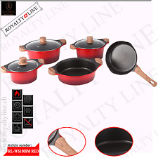 ROYALTY LINE 8PCS DIE CAST NON-STICK MARBLE COATED PAN SET *WOODEN HANDLES*