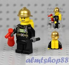 LEGO - Male Minifigure Firefighter & Golden Helmet Extinguisher Axe Chief City