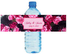 """100 Floral Label Wedding Anniversary Engagement Party Water Bottle Labels 8""""x2"""""""