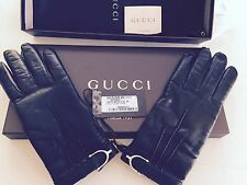 NWT GUCCI Made In Italy Guanti Donna Nappa Leather Gloves Black Size 7 $499