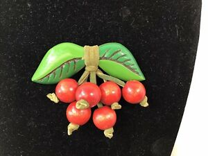 Vintage Large Wood Brooch Red Cherries Cherry With Green Leaves