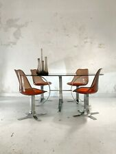 1970 TABLE & 4 CHAISES MODERNISTE SHABBY-CHIC Kappa Pergay Laverne