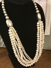 """Strand Pearl Necklace 22"""" Long New Silpada N1565 Sterling Silver Hammered Bead 6"""