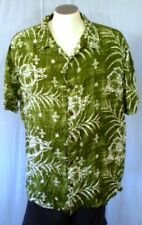 Margaritaville Green XXL Hawaiian Shirt White Hibiscus Leaves Rayon