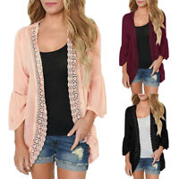 Womens Holiday Casual Lace Long Sleeve Chiffon Cardigan Loose Kimono Blouse Tops