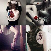 4 Sheets Temporary Tattoo Paper Rose Flower Tattoos Sticker for Women Fake Tatoo