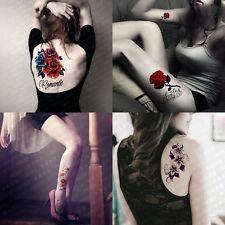 4-Sheet Waterproof Temporary Tattoos Paper Big Red Rose Flower Tattoos Sticker