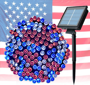 4th of July Decorations Outdoor Solar String Lights 72FT 200 LED White