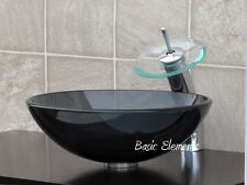 Bathroom Clear Black Glass Vessel Vanity Sink  With Chrome Faucet  combo 12.5C04