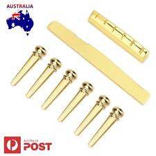 6PCS Brass Bridge Pins With Nut and Saddle Slotted for Acoustic Guitar Parts New
