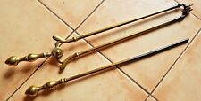 """SET OF ANTIQUE SOLID BRASS LARGE FIRE TONGS & POKER 24"""""""