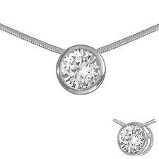 Collier 925 Silber Solitär Anhänger und Kette Zirkonia 7mm rund Halskette