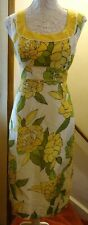 ALEX &CO YELLOW PRINT SLEEVELESS LINED SILK/LINEN SHIFT DRESS SIZE 16 BNWOT