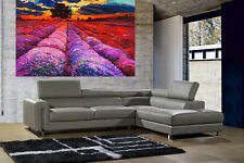A0 SUPER SIZE CANVAS landscape art painting print red purple sunset field tree