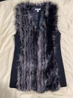 Boston Proper Zig Zag Sweater Vest Coat w/ Faux Fur Boho Large