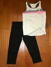 NWT JUSTICE GIRLS 14 OUTFIT~GRAY SPORTY SRIPE TANK TOP & BLACK CROP LEGGINGS