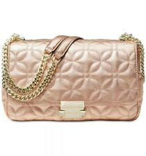 NWT Michael Kors Sloan Light Rose Gold Quilted Leather Large Chain Shoulder Bag