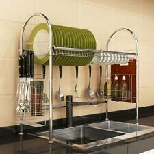 Home Dish Holder Stainless Steel Drying Rack Over Sink Utensils Storage w/6Hooks