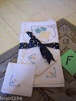 """VINTAGE NEW 5pc LUNCHEON CLOTH 30"""" 4 NAPKINS EMBROIDERED PATCHES FLOWERS WHITE!!"""