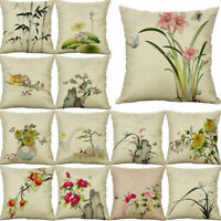 Chinese Painting Pillow Case Cotton Linen Cushion Cover Fashion Home Decor 18""