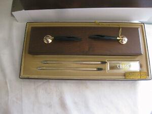 NOS CROSS DESK SET Walnut #5201 10kt Gold Filled PEN & PENCIL w/BOX