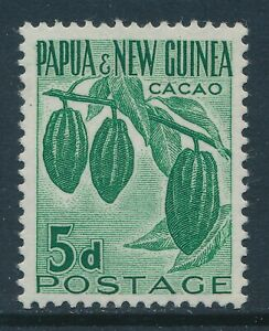 1958-1960 PAPUA NEW GUINEA 5d GREEN (CACAO) FINE MINT MNH SG19