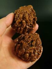 A Pair Of Old Chinese Authentic Walnuts Carved W/ Powerful Dragon Image