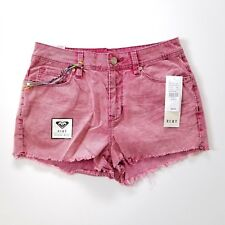 Roxy High Rise Shorts Womens 9 Fringed Bottom Ribbed Corduroy Pink - BRAND NEW