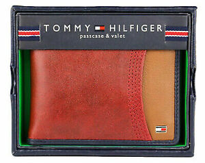 Men's Tommy Hilfiger Red Tan Leather Double Billfold Passcase & Valet Wallet