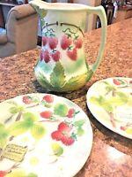 St CLEMENT Majolica Raspberry Raspberries Fruit Plate Antique Flower France