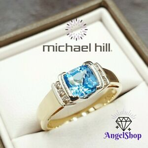 MICHAEL HILL 10ct Gold Ring Topaz Diamond Size N1/2 - 7 + MHJ BOX