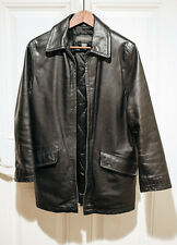 Banana Republic black leather mid-length jacket car coat XS