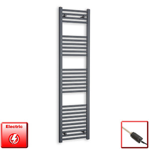 400mm Wide 1600mm High Flat Anthracite Pre-Filled Electric Towel Rail Radiator