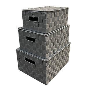 Arpan set of 3 grey nylon storage baskets boxes